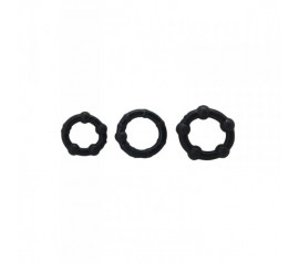 Timeless stud cock rings 3 pcs, black