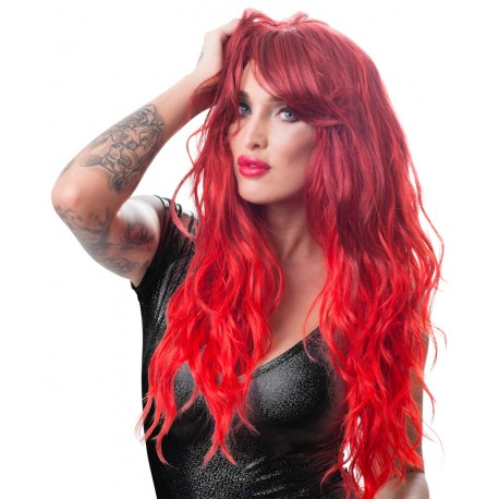 Wig, red, wavy, long