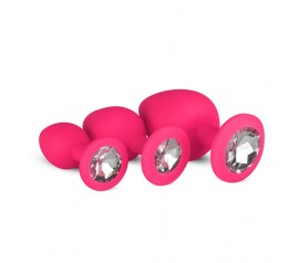 Silicone Butt Plug with Diamond - Pink