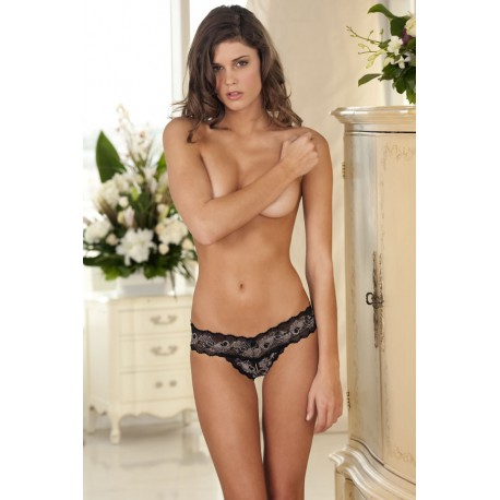 Crotchless Lace V-Thong: Black S/M