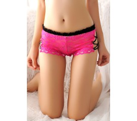 Rosy Caged Sides Sheer Lace Boyshort