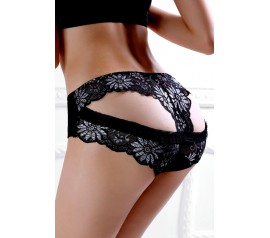 Black Cutout Back Jacquard Accent Panties