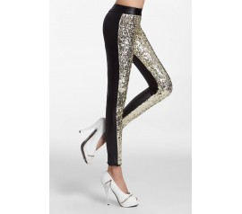 Silver Sequin Front PU Leggings