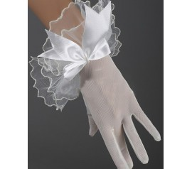 Short Transparent White Lace Net Gloves
