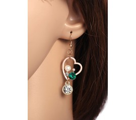 Irregular Heart Dangle Earrings with Diamonds