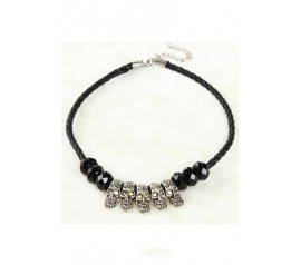 Black Skull Beaded Necklace