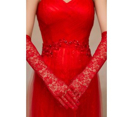 Red Stretch Lace Opera Length Gloves