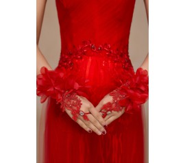 Red Flowery Applique Fingerless Bridal Gloves