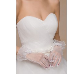 Off White Sheer Tulle Wrist Length Gloves