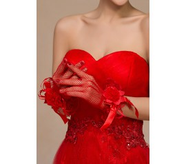 Red Satin Rose Accent Short Fishnet Gloves