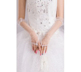 Off White Sheer Pothole Crochet Elbow Length Gloves