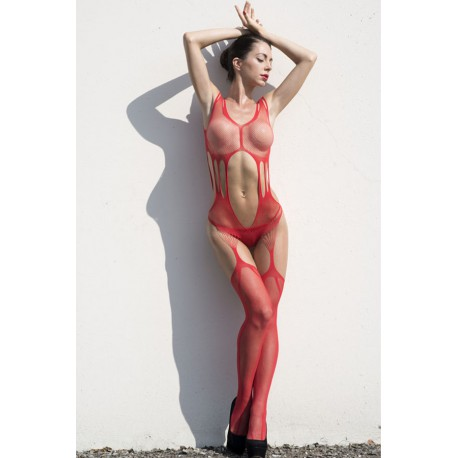 Red Mesh Bodystocking
