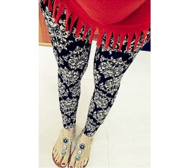 Black White Porcelain Patterned Leggings