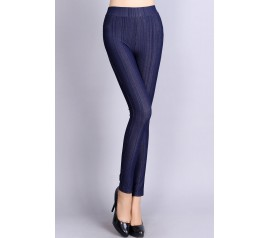 Blue Skintight Bamboo Shell Denim Leggings