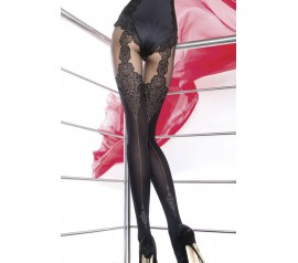 40 Denier Mock Suspender Patterned Tights