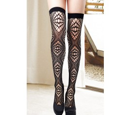 Black Diamond Cut Out Thigh High Stockings